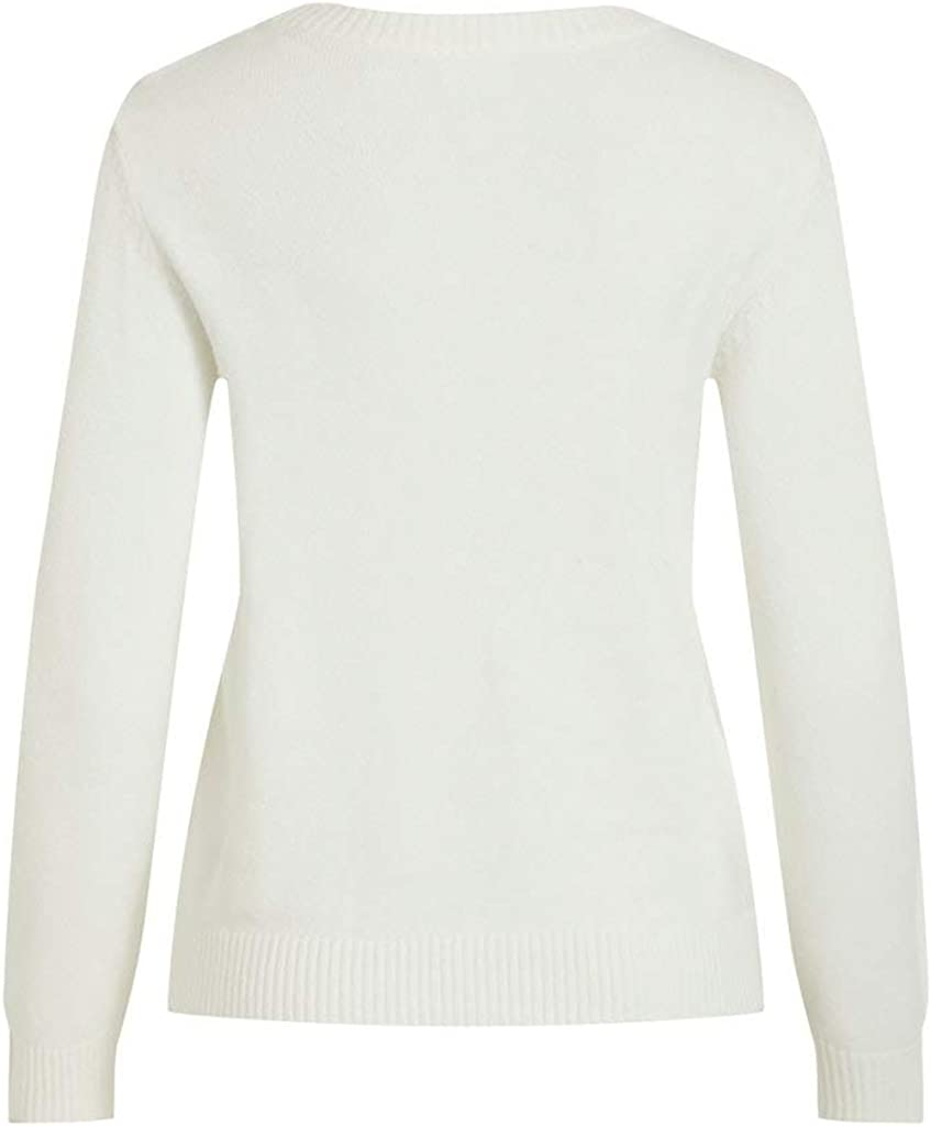 Vila Viril L//S O-Neck Knit Top-Noos Pullover Donna