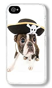 Cute Pirate Dog Custom iPhone 4S Case Back Cover, Snap-on Shell Case Polycarbonate PC Plastic Hard Case Transparent