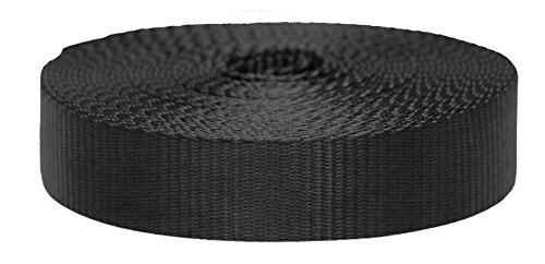 Strapworks Colored Flat Nylon Webbing - Strap for Arts and Crafts, Dog Leashes, Outdoor Activities - 1.5 Inches x 10 Yards, Black ()