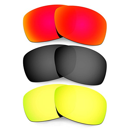 Hkuco Plus Mens Replacement Lenses For Oakley Hijinx Red/Black/24K Gold Sunglasses