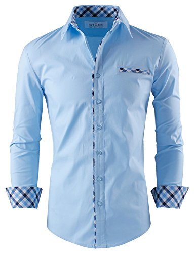Tom's Ware Mens Premium Casual Inner Contrast Dress Shirt TWNMS310S-1-SKYBLUE-L by Tom's Ware