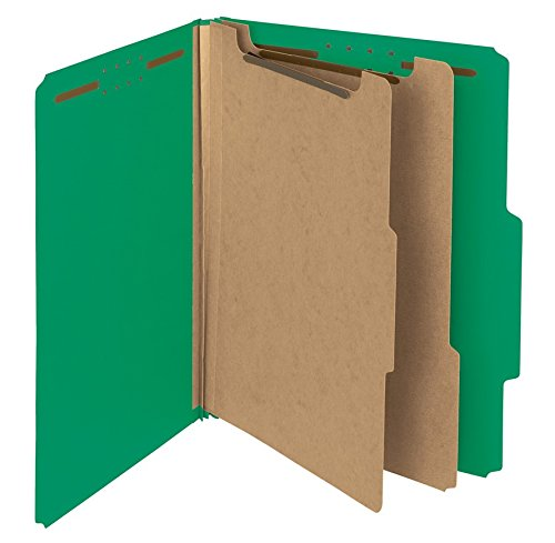 (Smead 100 Percent Recycled Pressboard Classification Folder, 2 Dividers, 2-Inch Expansion, Letter Size, Green, 10 per Box (14063))