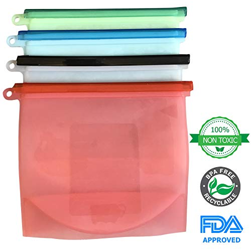 Midnight Traders - Reusable Silicone Food Storage Bags Eco-Friendly Airtight Snack Bags with Zip Slide Closures are Dishwasher, Freezer, and Microwave Safe (Set of 4)