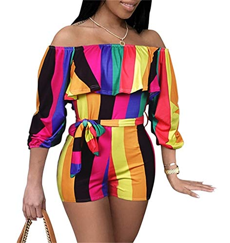SHINFY Womens Floral Print Long Sleeves Boat Neck Ruffle Off The Shoulder Mid Rise Casual Jumpsuit Rompers ()