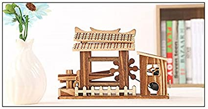 DIY Wood Home Decor Mini Waterwheel Figurines Can Rotate Waterwheel Retro  Office Decoration Hand Crank Music