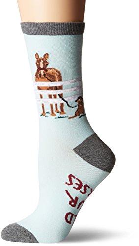 K. Bell Women's Novelty Casual Crew Socks, Hold Your Horses (Light Blue), Shoe Size: 4-10