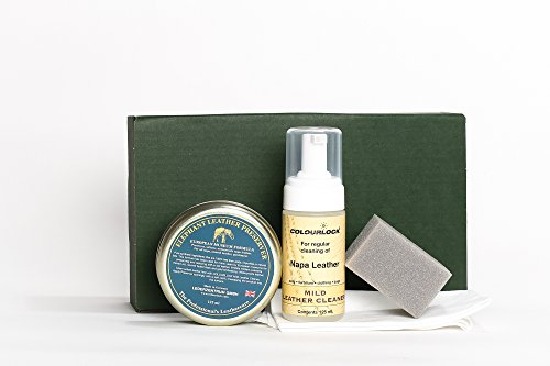 COLOURLOCK Leather Cleaner & Wax (Elephant Leather Preserver) Kit - for furniture, car seats, handbags, jackets and accessories (Mild Cleaner)