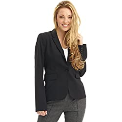 Rekucci Collection Women's One Button Tailored Stretch Wool Suit Jacket (4,Black)
