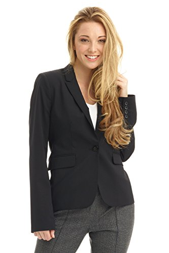 Rekucci Collection Women's One Button Tailored Stretch Wool Suit Jacket (2,Black)