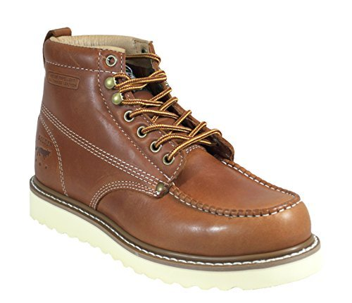 Golden Fox Oil Full Grain Leather Moc Toe Light Weight Work Boots for Men Brown 11 (Fox Leather Boot)