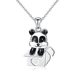 ATHENAA S925 Sterling Silver Jewelry Panda in a box Pendant Necklace,Rolo Chain,18""