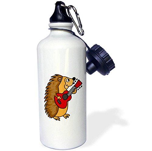 3dRose All Smiles Art Music - Funny Cute Hedgehog Playing the Guitar - 21 oz Sports Water Bottle (wb_255791_1) by 3dRose