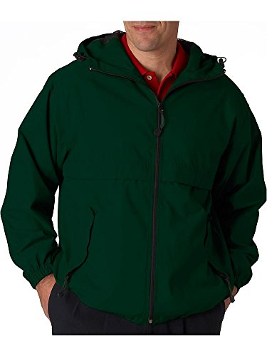 (8908 UltraClub Adult Microfiber Full-Zip Hooded Jacket , Forest Green , 3X-Large )