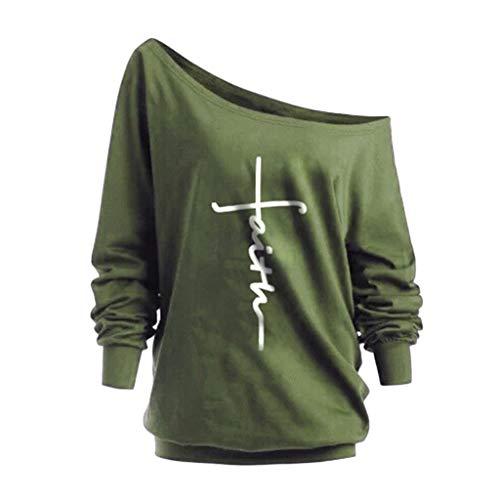 shirt Et Imprimé À Épaules Femmes Longues Lettres T Manches Pour Dénudées Arméeverte Uface 6HZqx