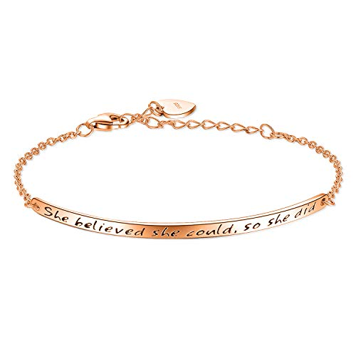 Billie Bijoux Women's 925 Sterling Silver Engraved Inspirational Adjustable Bracelet – She Believed She Could So She Did