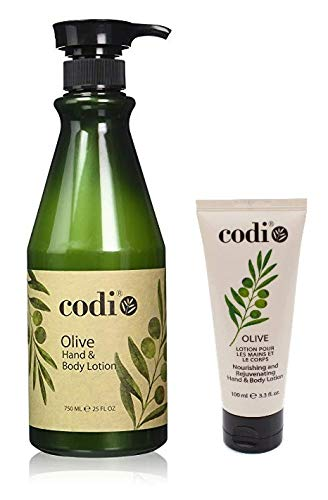 Codi Olive Hand and Body Lotion Big and Small Kit, 750ml/25oz + 3.3oz/100ml