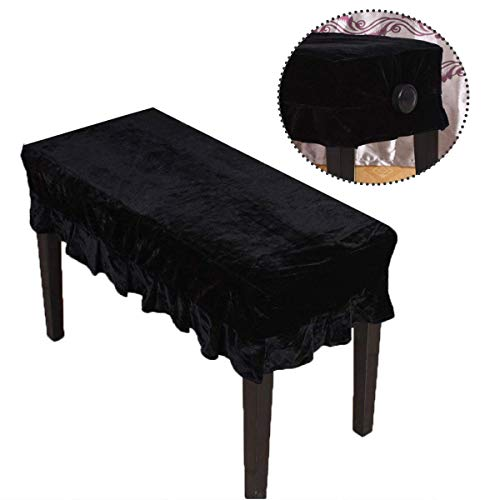Timiy Universal Type Pleuche Piano Stool Cover Black 56x36cm (Piano Bench Cover)