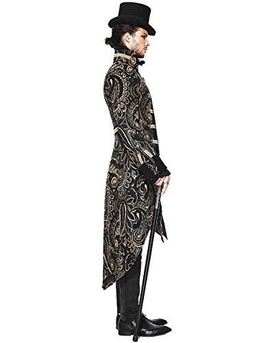 Doré Hommes Gothique Aristocrate Noir Fashion Steampunk Veste Pie Devil Queue De xO7wqBHY