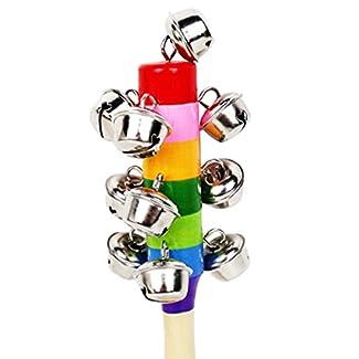 Hochets Jouets en Bois, Netspower Instruments de Musique en Bois Éducatif Sagesse Développement Formation Jouet du Bébé - Coloré Mignon de Bell Rattles