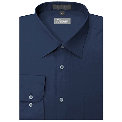 Giovanni CLG1014-18 1-2x36-37 Mens Solid Color Dress Shirt, Navy