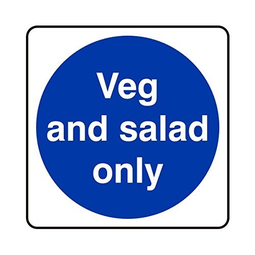 hiusan 200mmx200mm Veg and Salad Only Catering Sign Plastic Warning Signs Stickers Self Adhesive Funny Safety Sign for Property ()