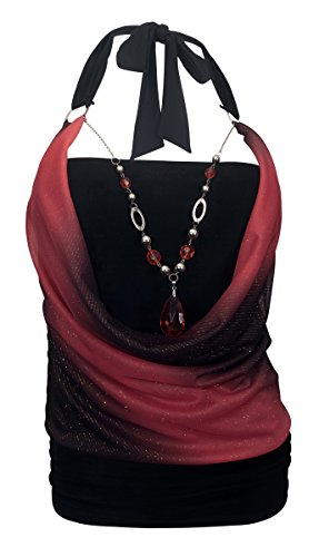 eVogues Plus Size Glitter Print Necklace Accented O-Ring Strap Top Coral - 1X ()