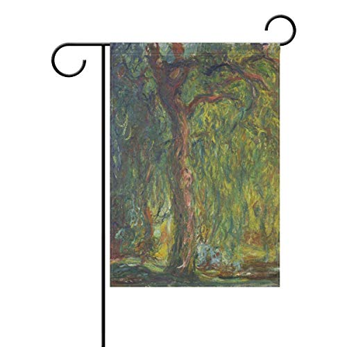 Yunnstrou Weeping Willow Monet Art Oil Paintings Garden Flag Waterproof Polyester Yard Flag House Flag Decoration Double Sided Flag 12 x 18 Inch ()