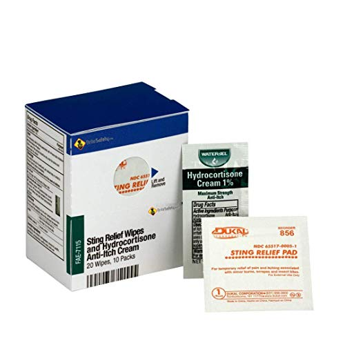 SmartCompliance Refill 20 Sting Relief Wipes & 10 Hydrocortisone Cream Packets Per Box | Emergency Kit Trauma Kits First Aid Cabinet Refill