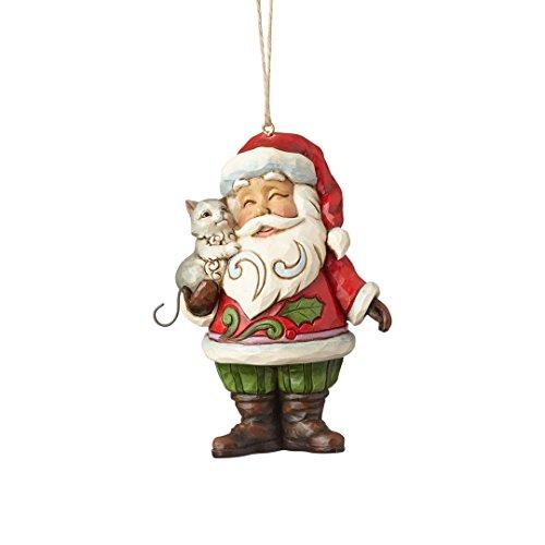 Enesco Jim Shore Heartwood Creek Mini Santa with Cat Stone Resin Hanging Ornament, (Heartwood Creek Cats)