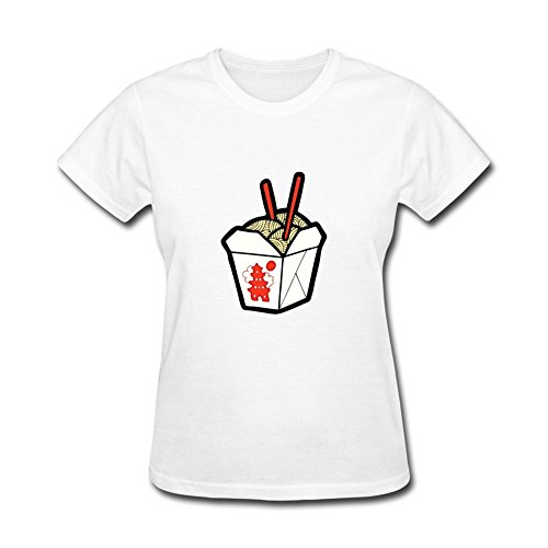 ZhiBo Funny Popular Take Out Chinese Noodles Chopsticks Box Design T-shirts for Woman White XX-Large