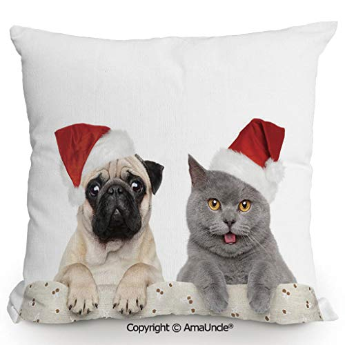 SCOXIXI Decorative Square Throw Pillow Case with Cotton and Linen,Christmas Themed Animal Photography with A Cat and Dog Wearing Santa Hats Print Decorative,W16xL16 Inches