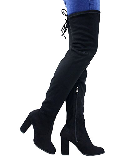 Bella Luna Womens Womens Lace Back Over The Knee Boot (Available In 2 Colors),Black/SD,6.5