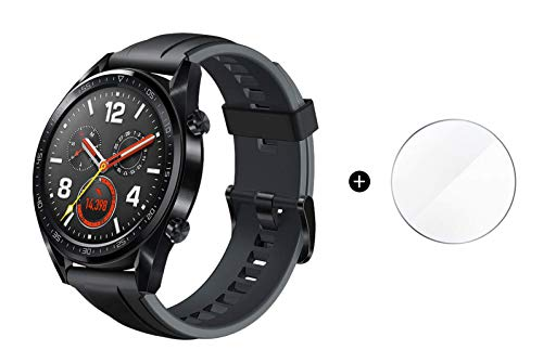 Huawei Watch GT 2018 Bluetooth SmartWatch,Ultra-Thin Longer Lasting Battery Life,Compatible with iPhone and Android (Black (Silicone Strap)) Contains SUNG-LL Screen Protector