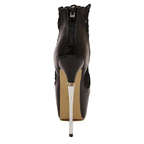 D2c Beauté Femmes En Cuir Plateforme Plate-forme Super Talons Peep Toe Sandales Stiletto Noir