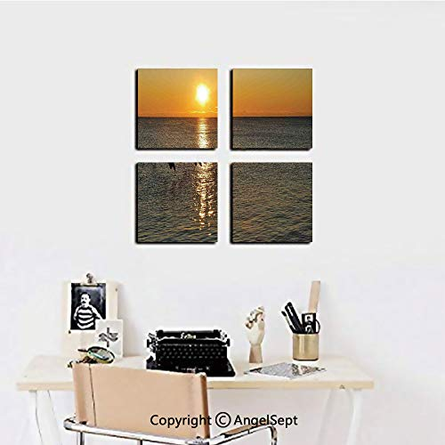 AngelSept Framed Wall Art Decor,Silhouettes of Canadian Geese Flying Over a Lake at Sunrise Romantic Scenery,16
