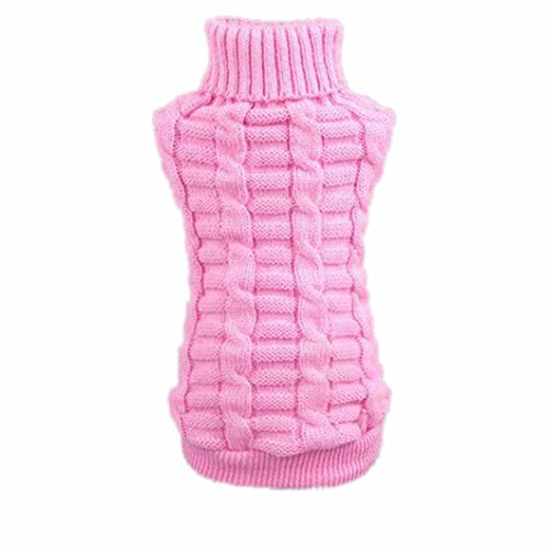 (Howstar Puppy Sweater, Warm Doggie Clothes Cute Knitted Classic Pet Dog Shirt Apparel (S, Pink))