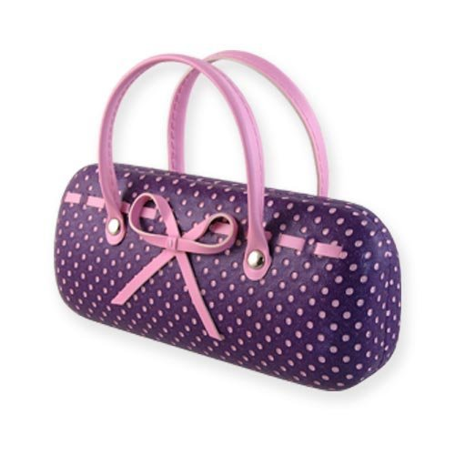 Purple Hard Protective Eyeglass Case with handles Mini handbag Eyeglass Case with cleaning cloth for Medium frames Women & Girls Small accessories| AS12TG Polka Dots Purple by MyEyeglassCase (Image #1)
