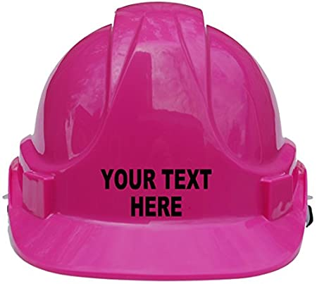 Personalised Bespoke with Own Wording Children, Kids Hard Hat Safety Helmet with Chin Strap One Size Adjustable Suitable for 4-12 Years -Pink Acce Products