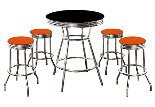 - 5 Piece Retro Black Bistro Table & Pub Set With 4 Bar Stools with Colored Vinyl Seat Cushions (Orange Textured)
