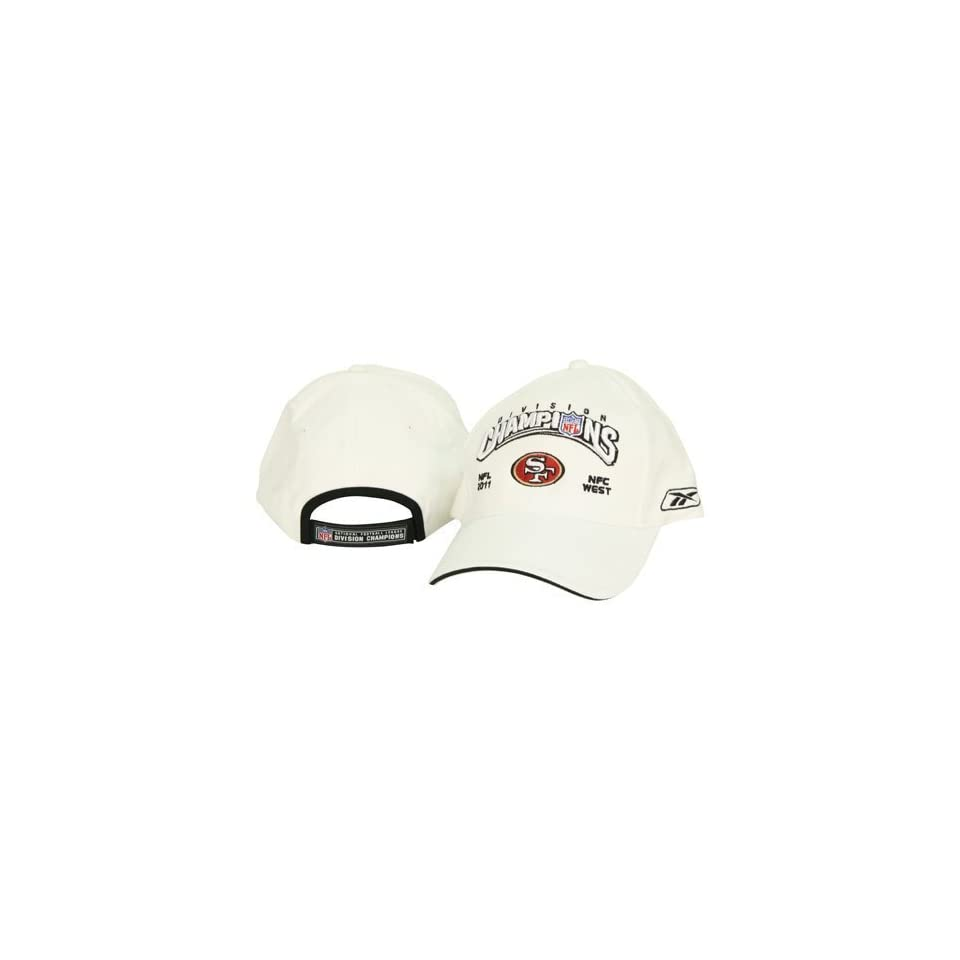 NFL San Francisco 49ers 2011 NFC West Division Champions On Field White Adjustable Baseball Hat Cap Lid by Reebok
