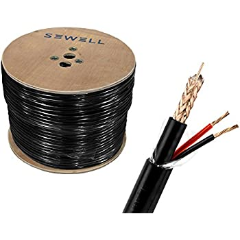 Sewell Direct SW-30380 Bulk RG59+Power Direct Burial Bare Copper 1000 ft. Spool Siamese Cable