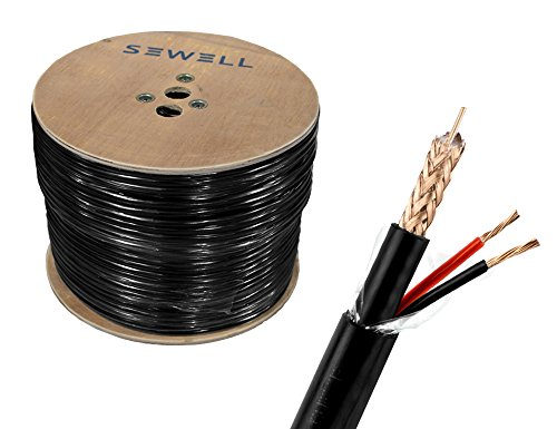 Foot Rg59 Cable - Sewell Direct SW-30380 Bulk RG59+Power Direct Burial Bare Copper 1000 ft. Spool Siamese Cable