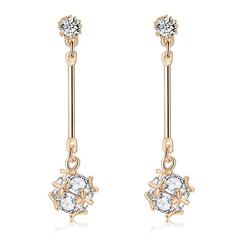 - Fashion 925 Sterling Silver Ball Drop Earrings plated Dangle Crystal Earrings jewelry for Women Gold