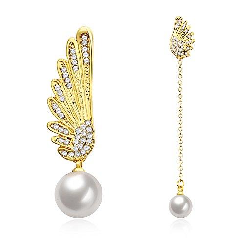 (Luxury Queen Angel Feather Pearl Dangle Earring Ear Stud Birthday Mother Gift For Women Girl Asymmetry Jewelry)