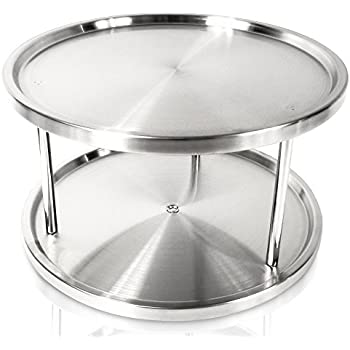 Lazy Susan 10 Inch Two Tier Turntable Spice Rack Cabinet Organizer Also For  Appetizer Tray,