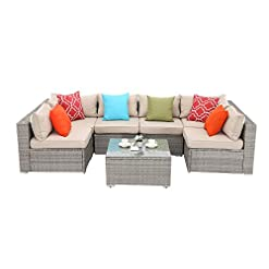 Garden and Outdoor Do4U 7 Pieces Outdoor Patio Furniture Sectional Conversation Set, All-Weather Wicker Rattan Sofa (Khaki Gray) outdoor lounge furniture