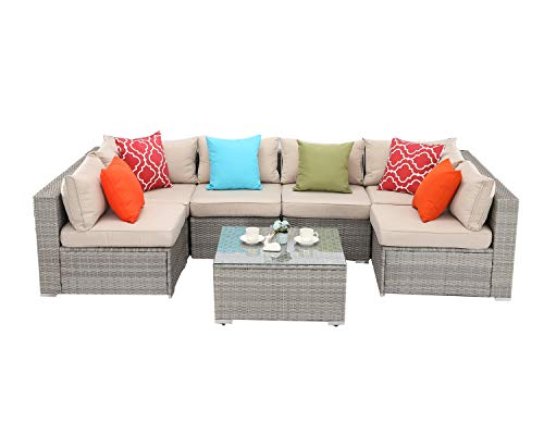 Do4U 7 Pieces Outdoor Patio Furniture Sectional Conversation Set, All-Weather Wicker Rattan Sofa Beige Seat & Back Cushions (2423-Grey-7 Pieces) (Contact Direct Rattan)