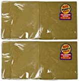 Amscan Big Party Pack 125 Count Luncheon Napkins, Gold (2 Pack)