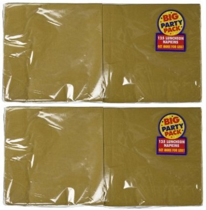 Amscan Big Party Pack 125 Count Luncheon Napkins, Gold (2 Pack) by Amscan