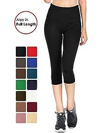 Solid Brushed Signature Capri&Full Leggings - Soft/Strong Elastic Yoga High Waist w/Pocket Regular/Plus